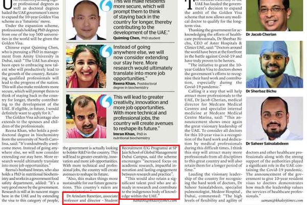 Dr Arindam Banerjee interviewed by Khaleej Times